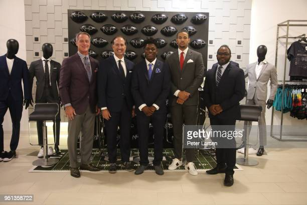 Daryl Johnston Tom Ott Richie James Marcell Ateman and Clarance Hill attend a Fashion Football Event at Saks Off 5TH> on April 25 2018 in Grand...