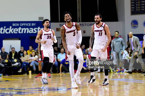 Daryl Macon and Mychal Mulder of the Sioux Falls Skyforce celebrate against the Santa Cruz Warriors during an NBA GLeague game on January 31 2020 at...