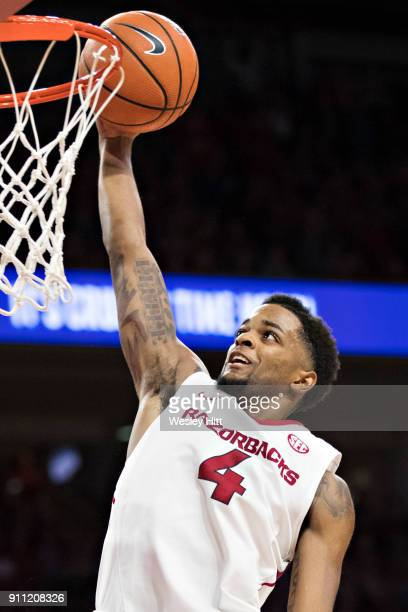 Daryl Macon of the Arkansas Razorbacks goes up for a lay up during a game against the Oklahoma State Cowboys at Bud Walton Arena on January 27, 2018...