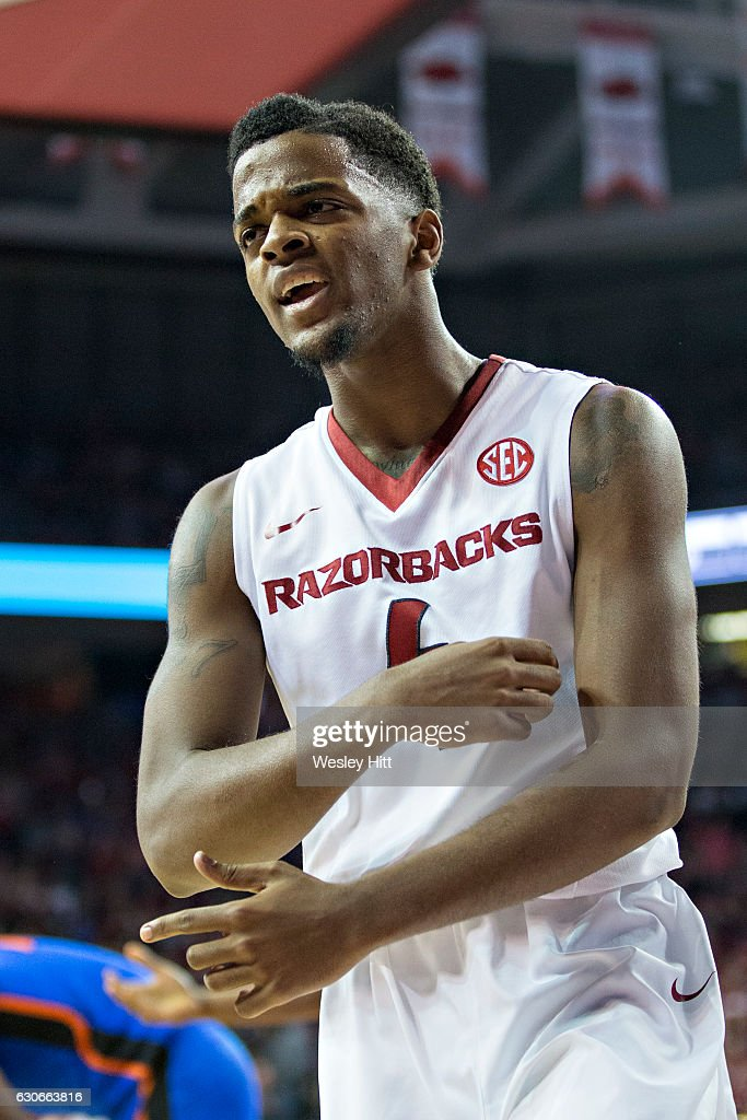 Daryl Macon #4 of the Arkansas Razorbacks reacts after getting fouled on his shot during a game against the Florida Gators at Bud Walton Arena on December 29, 2016 in Fayetteville, Arkansas. The Gators defeated the Razorbacks 81-72.