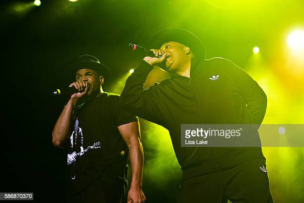 Daryl McDaniels and Joseph Rev Run Simmons of RUNDMC perform at Sands Steel Stage at PNC Plaza on August 6 2016 in Bethlehem Pennsylvania