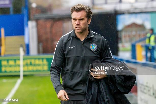 Daryl McMahon Manager of Macclesfield Town during the Sky Bet League 2 match between Macclesfield Town and Mansfield Town at the Moss Rose Stadium,...