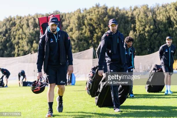 Daryl Mitchell and Devon Conway walk from the ground at the end of a New Zealand Blackcaps training session at the New Zealand Cricket High...
