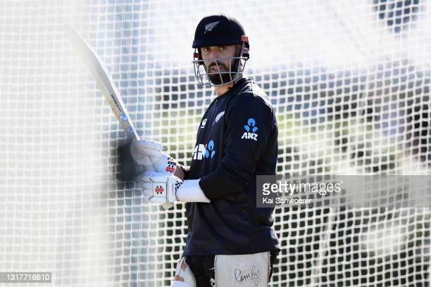 Daryl Mitchell looks on during a New Zealand Blackcaps training session at the New Zealand Cricket High Performance Centre on May 13, 2021 in...