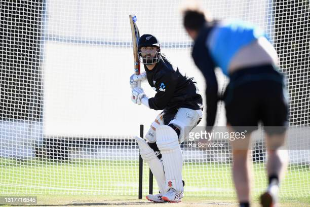 Daryl Mitchell looks to bat during a New Zealand Blackcaps training session at the New Zealand Cricket High Performance Centre on May 13, 2021 in...