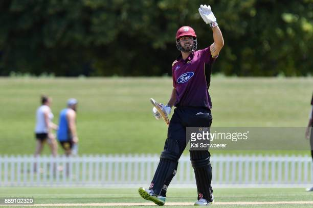 Daryl Mitchell of Northern Districts reacting during the One Day Ford Trophy Cup match between Canterbury and Northern Districts on December 10 2017...