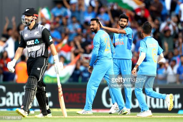 Daryl Mitchell of the Black Caps reacts after being dismissed lbw by Krunal Pandya of India during game two of the International T20 Series between...