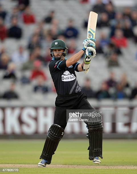 Daryl Mitchell of Worcestershire bats during the NatWest T20 Blast match between Lancashire Lighting and Worcestershire Rapids at Old Trafford on...