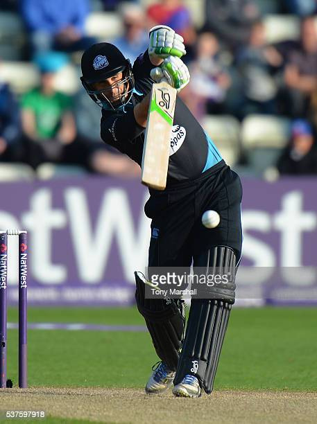 Daryl Mitchell of Worcestershire Rapids bats during the NatWest T20 Blast match between Worcestershire Rapids and Yorkshire Vikings at New Road on...