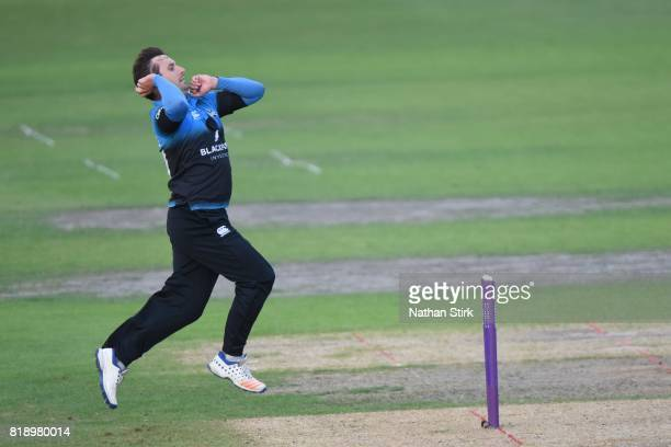 Daryl Mitchell of Worcestershire runs into bowl during the NatWest T20 Blast match between Worcestershire Rapids and Derbyshire Falcons at New Road...