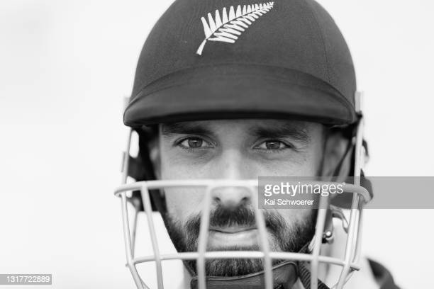 Daryl Mitchell poses following a New Zealand Blackcaps training session at the New Zealand Cricket High Performance Centre on May 13, 2021 in...