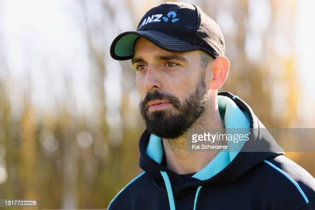Daryl Mitchell speaks to the media following a New Zealand Blackcaps training session at the New Zealand Cricket High Performance Centre on May 13,...