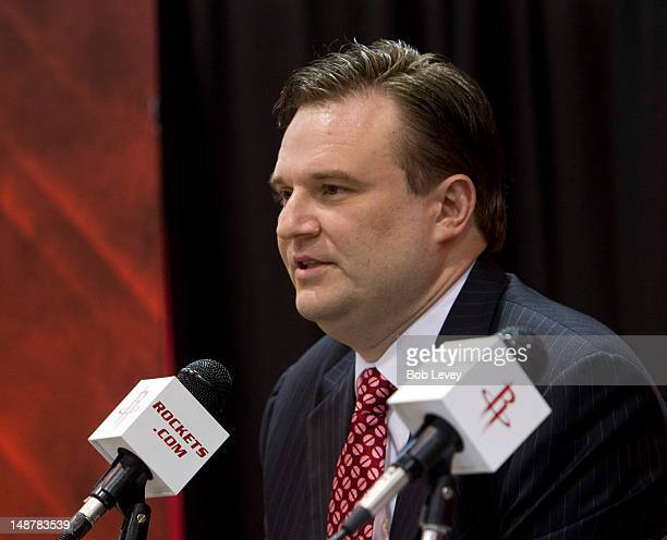 Daryl Morey, general manager of the Houston Rockets speaks during a press conference announcing the signing of Jeremy Lin at Toyota Center on July...