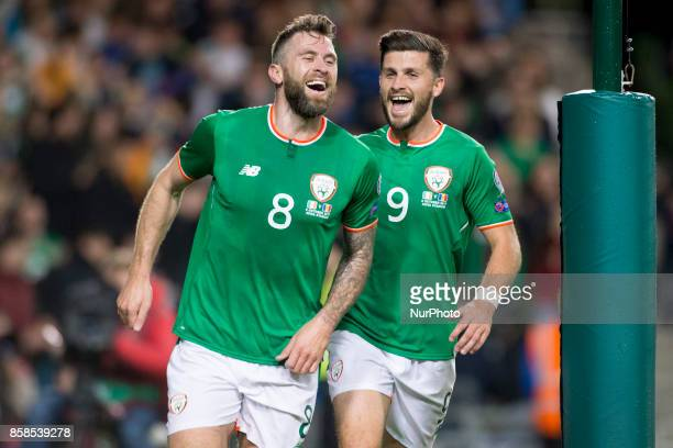 Daryl Murphy and Shane Long of Ireland celebrate after first goal during the FIFA World Cup 2018 Qualifying Round Group D match between Republic of...