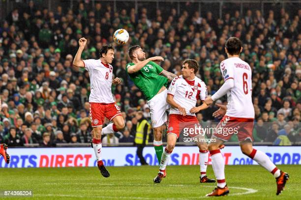 Daryl Murphy and Thomas Delaney during the FIFA World Cup 2018 qualification Play off football match between Republic of Ireland and Denmark at the...