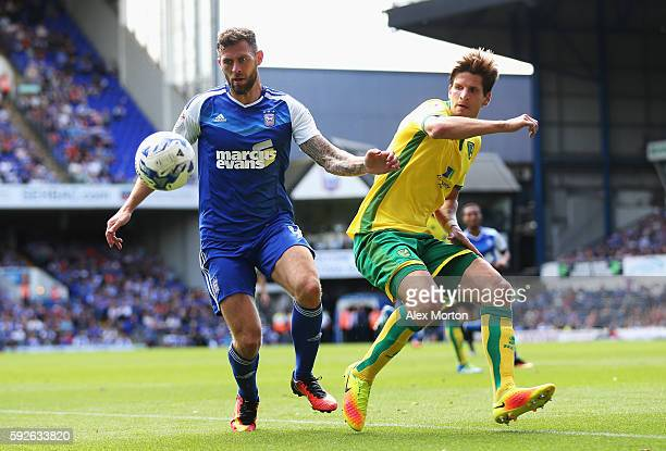 Daryl Murphy of Ipswich Town is closed down by Timm Klose of Norwich City during the Sky Bet Championship match between Ipswich Town and Norwich City...