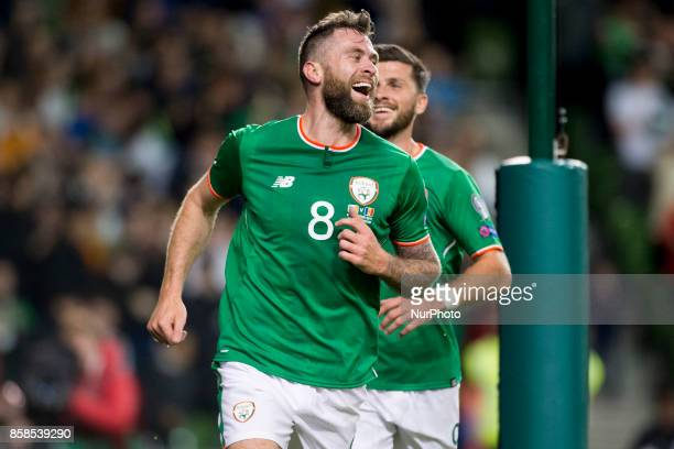 Daryl Murphy of Ireland celebrates after scoring during the FIFA World Cup 2018 Qualifying Round Group D match between Republic of Ireland and...