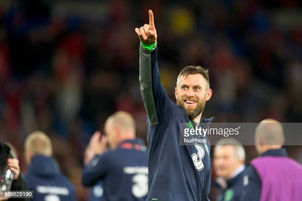 Daryl Murphy of Ireland celebrates during the FIFA World Cup 2018 Qualifying Round Group D match between Wales and Republic of Ireland at Cardiff...