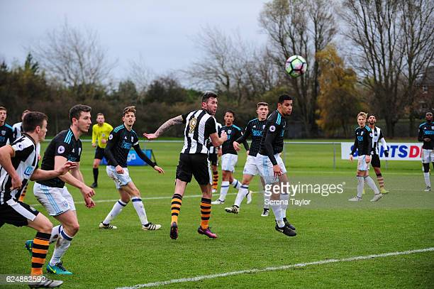 Daryl Murphy of Newcastle heads the ball during the Premier League 2 Match between Newcastle United and West Bromwich Albion at Whitley Park on...