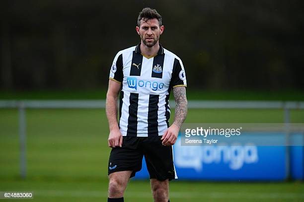 Daryl Murphy of Newcastle looks on during the Premier League 2 Match between Newcastle United and West Bromwich Albion at Whitley Park on November 21...