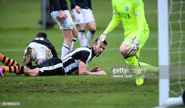 Daryl Murphy of Newcastle scores the opening goal during the Premier League 2 Match between Newcastle United and West Bromwich Albion at Whitley Park...