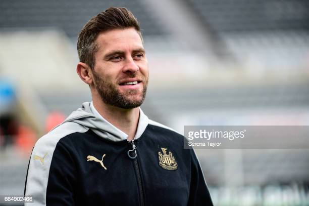 Daryl Murphy of Newcastle United arrives for the Sky Bet Championship Match between Newcastle United and Burton Albion at StJames' Park on April 5...