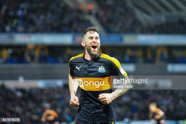 Daryl Murphy of Newcastle United celebrates after scoring Newcastle's second goal during the Sky Bet Championship Match between Huddersfield Town and...