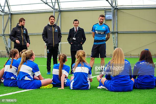Daryl Murphy of Newcastle United speaks to Blyth Town Girls Football Club during a Question and Answer training session at The Newcastle United...