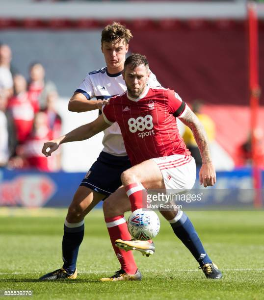 Daryl Murphy of Nottingham Forest and Dael Fry of Middlesbrough during the Sky Bet Championship match between Nottingham Forest and Middlesbrough at...