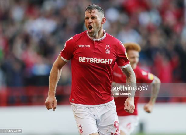 Daryl Murphy of Nottingham Forest celebrates after scoring their second goal during the Sky Bet Championship match between Nottingham Forest and...