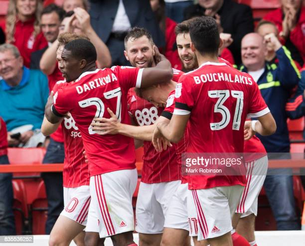 Daryl Murphy of Nottingham Forest celebrates scoring his teams 2nd goal from the penalty spot during the Sky Bet Championship match between...