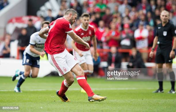 Daryl Murphy of Nottingham Forest scores his teams 2nd goal from the penalty spot during the Sky Bet Championship match between Nottingham Forest and...