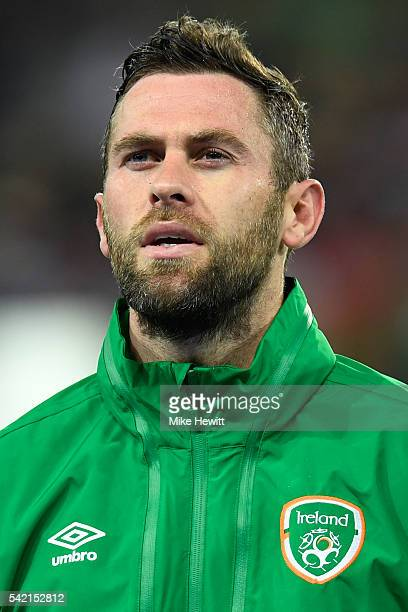 Daryl Murphy of Republic of Ireland is seen prior to the UEFA EURO 2016 Group E match between Italy and Republic of Ireland at Stade PierreMauroy on...