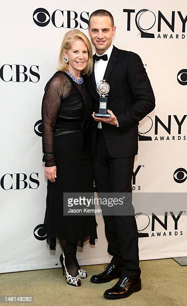 Daryl Roth and Jordan Roth pose in the 66th Annual Tony Awards press room at The Beacon Theatre on June 10 2012 in New York City