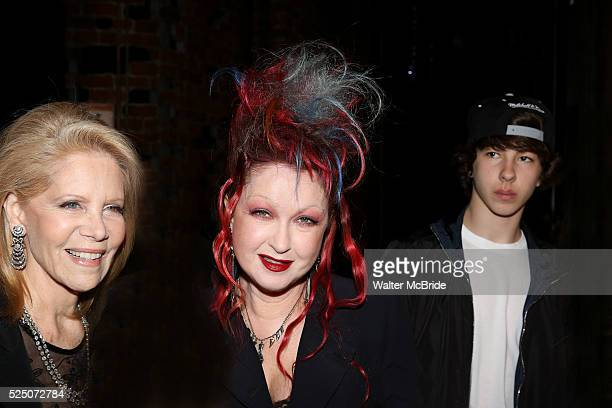 Daryl Roth Cyndi Lauper Declyn Wallace Thornton attending the Opening Night Gypsy Robe Ceremony honoring Charlie Sutton for 'Kinky Boots' at the Al...