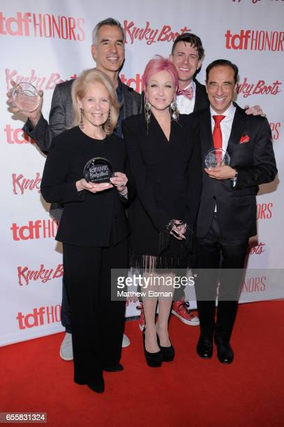 Daryl Roth Jerry Mitchell Cyndi Lauper Will Van Dyke and Hal Luftig attend TDF Honors Broadway's 'Kinky Boots' reception at Marriott Marquis Times...