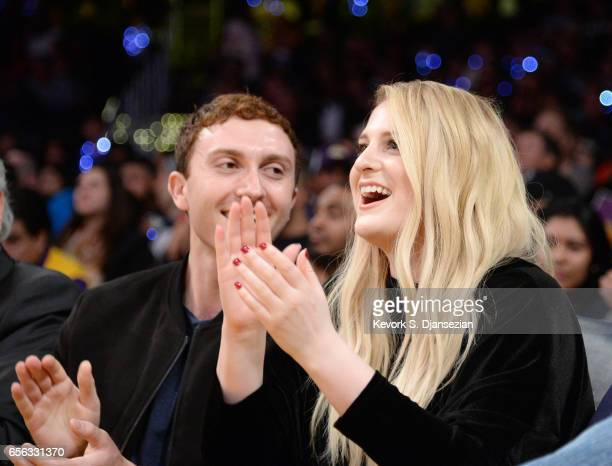 Daryl Sabara and Meghan Trainor attend a basketball game between Los Angeles Clippers and Los Angeles Lakers at Staples Center March 21 2017 in Los...