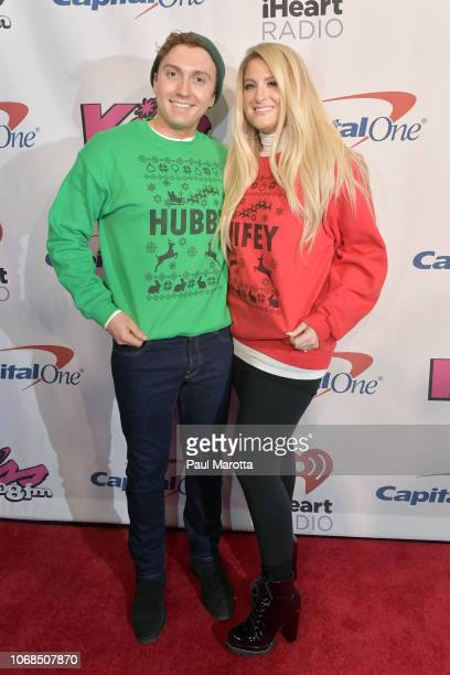 Daryl Sabara and Meghan Trainor attend KISS 108's Jingle Ball 2018 at TD Garden on December 4 2018 in Boston Massachusetts