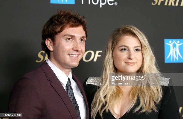 Daryl Sabara and Meghan Trainor attend the City Of Hope's Spirit of Life 2019 Gala held at The Barker Hanger on October 10 2019 in Santa Monica...