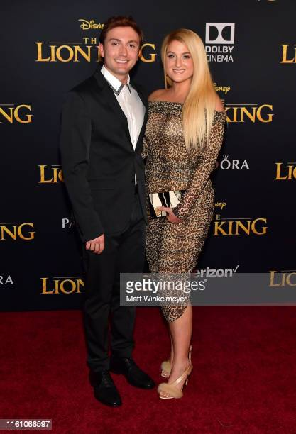 Daryl Sabara and Meghan Trainor attend the premiere of Disney's The Lion King at Dolby Theatre on July 09 2019 in Hollywood California