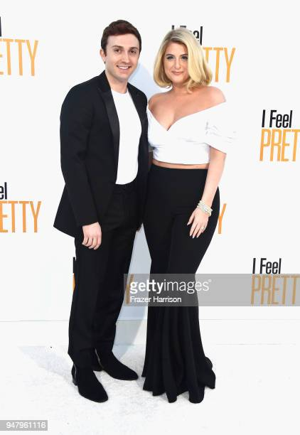 Daryl Sabara and Meghan Trainor attends the premiere of STX Films' 'I Feel Pretty' at Westwood Village Theatre on April 17 2018 in Westwood California