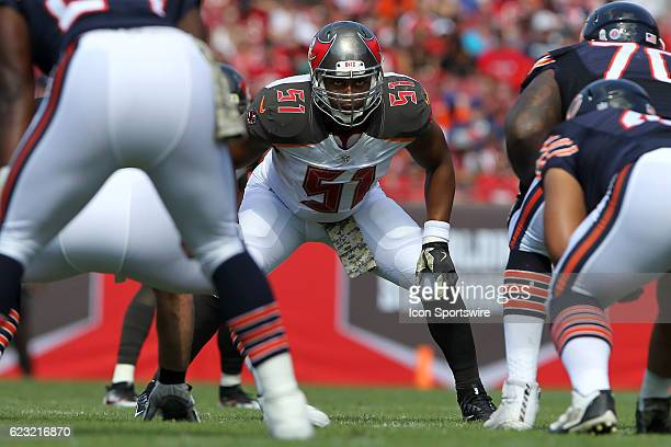 Daryl Smith of the Buccaneers looks into the offensive backfield before the snap during the NFL game between the Chicago Bears and Tampa Bay...