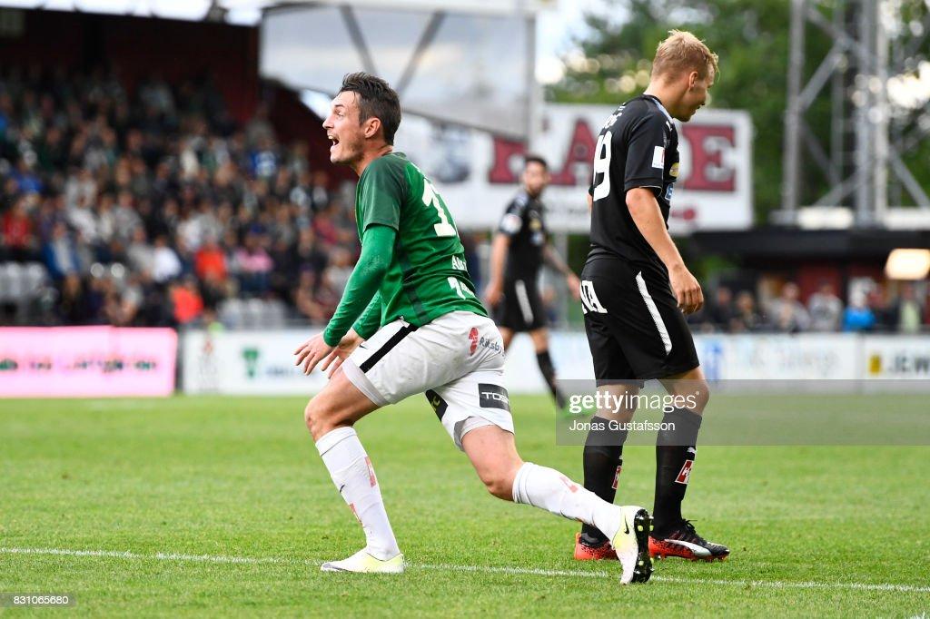 Daryl Smylie of Jonkopings Sodra react during the Allsvenskan match between Jonkopings Sodra IF and Orebro SK at Stadsparksvallen on August 13, 2017 in Jonkoping, Sweden.