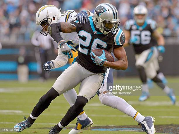 Daryl Worley of the Carolina Panthers intercepts a pass intended for Tyrell Williams of the San Diego Chargers during the game at Bank of America...