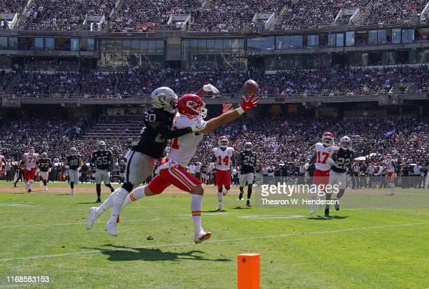 Daryl Worley of the Oakland Raiders breaks up the pass intended for Blake Bell of the Kansas City Chiefs during the second quarter of an NFL football...