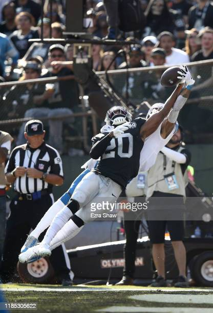 Daryl Worley of the Oakland Raiders intercepts a pass in the end zone that was intended for Kenny Golladay of the Detroit Lions at RingCentral...