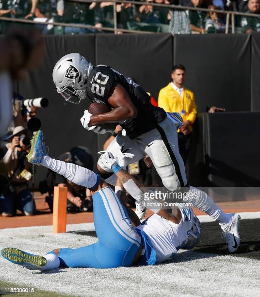 Daryl Worley of the Oakland Raiders intercepts a pass intended for Kenny Golladay of the Detroit Lions in the second quarter at RingCentral Coliseum...