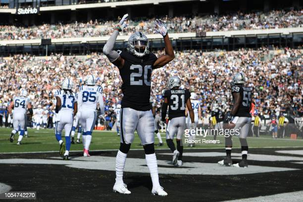 Daryl Worley of the Oakland Raiders reacts after stopping the Indianapolis Colts in the red zone during their NFL game at OaklandAlameda County...
