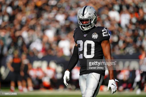 Daryl Worley of the Oakland Raiders walks on the field during the game against the Cincinnati Bengals at RingCentral Coliseum on November 17 2019 in...
