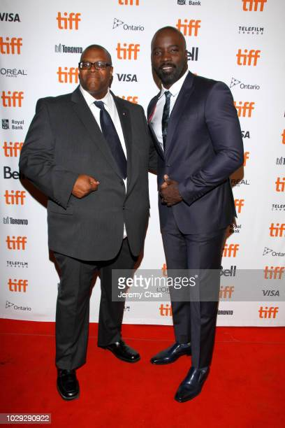 Daryle Lamont Jenkins and Mike Colter attend the 'Skin' premiere during 2018 Toronto International Film Festival at Winter Garden Theatre on...